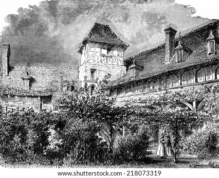 House of Madame de Sevigne, in Vichy, vintage engraved illustration. Journal des Voyages, Travel Journal, (1880-81).