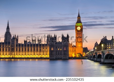 House of Parliament and Big Ben after sunset with clouds - stock photo