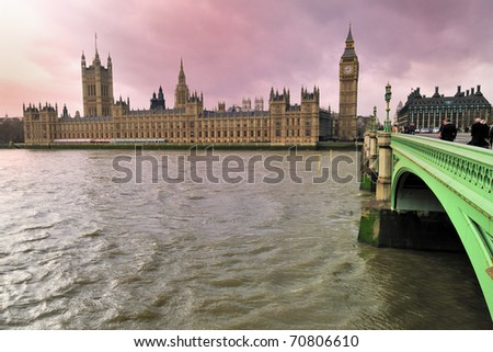 House of Parliament and Big Ben - London - stock photo