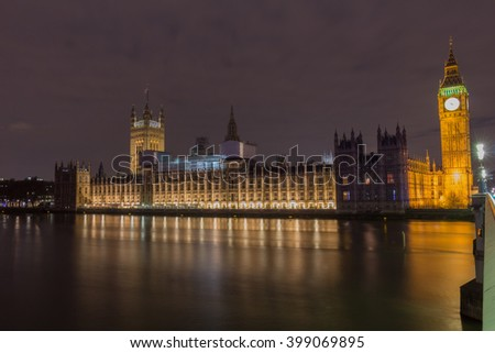 House of Parliament and the Big Ban seen over Thames in London - stock photo