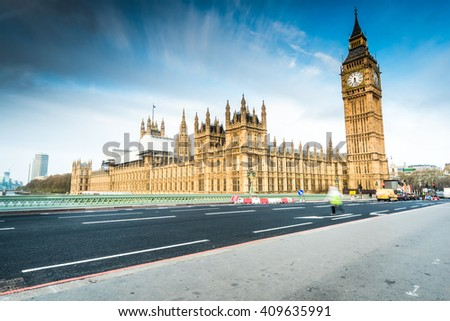 House of Parliament from Westminster Bridge at sunrise, panoramic view - stock photo