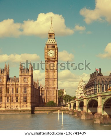 House of Parliament  in London UK.  Toned image - stock photo