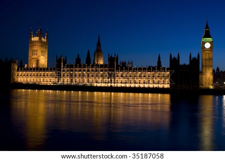 House of Parliament in London, United Kingdom at night - stock photo