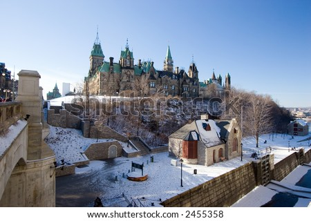 House of Parliament, Ottawa, Canada, overlooking the locks for the Rideau Canal - stock photo