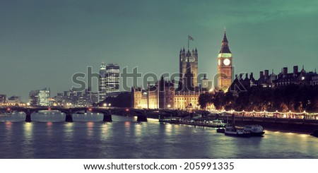 House of Parliament panorama in Westminster in London. - stock photo