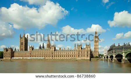 House of Parliament with  Big Ben  tower in London, UK. - stock photo