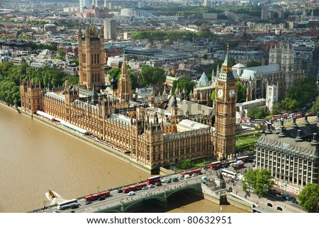 House of Parliament with Big Ben tower in London, UK. view from  London  eye. - stock photo