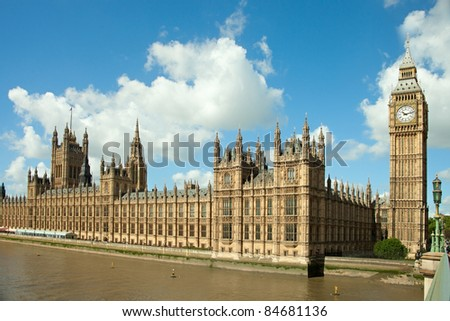 House of Parliament with  Big Ben  tower in London,  UK.  view from Themes river - stock photo