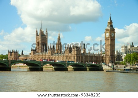 House of Parliament with  Big Ben  tower in London UK view from Themes river - stock photo