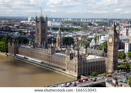 House of Parliament with Big Ben tower with Thames river in London, view from London Eye, UK - stock photo