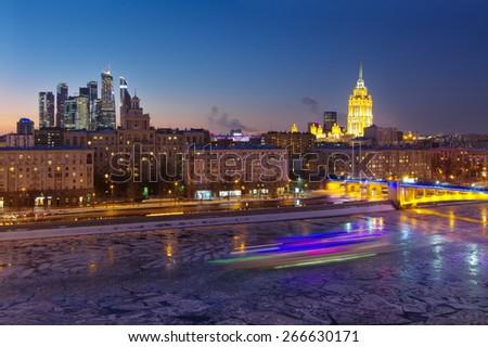 House of Petroleum, Smolensky Metro Bridge, Hotel Ukraine, Moscow City Business Complex at night in Moscow. Long exposure - stock photo