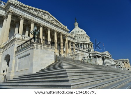 House of Representatives and US Capitol Building, Washington DC, United States - stock photo