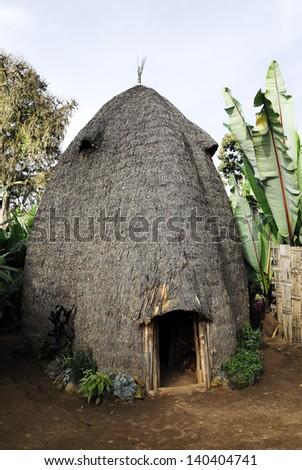 House of the Dorze people, Ethiopia - stock photo