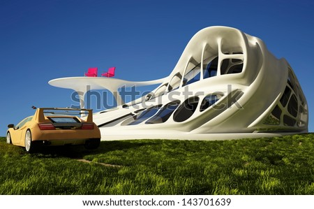 House of the Future and cars on the grass. - stock photo
