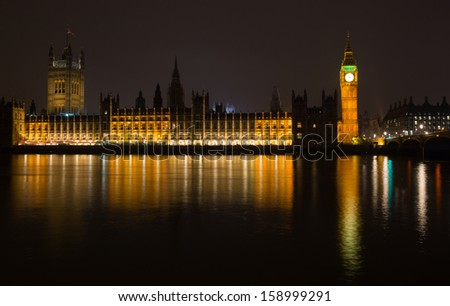 House of the Parliament and Elizabeth Tower known as Big Ben in London, England, UK - stock photo