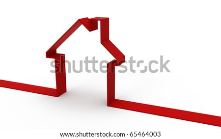 House of the tape on white background - stock photo