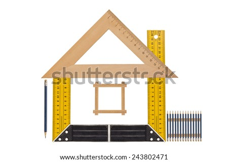 House of the tools,  Metallic tool to measure right angle, triangle and wooden ruler, pencil and tape measure on a white background - stock photo