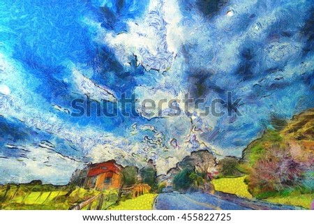 House on a farm alongside a road against a brilliant blue cloudy sky