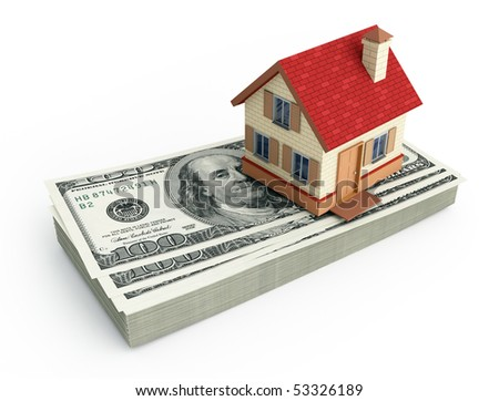 House on a stack of U.S. dollars