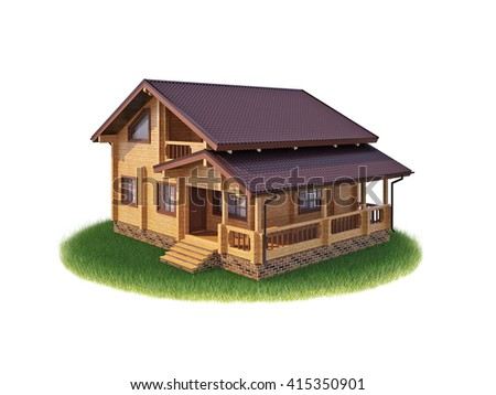 House on a white background. 3D illustration, 3D render - stock photo