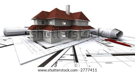 House on architect's plans - stock photo