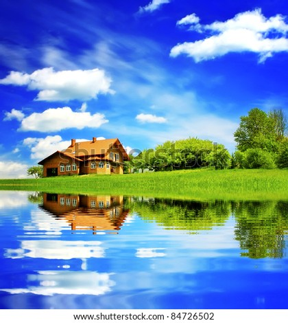House on blue sky - stock photo
