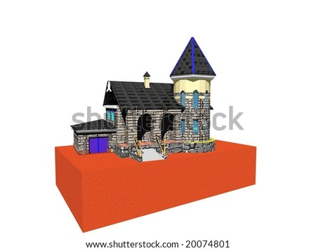 House on break collage symbol of construction - stock photo