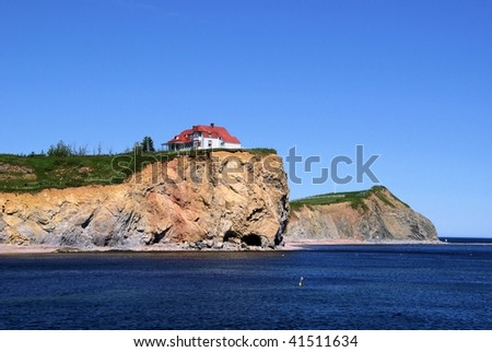 House on Cliff - stock photo
