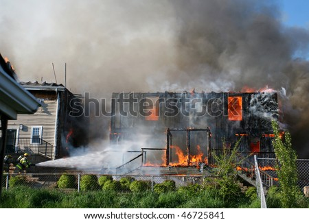 House on fire. - stock photo
