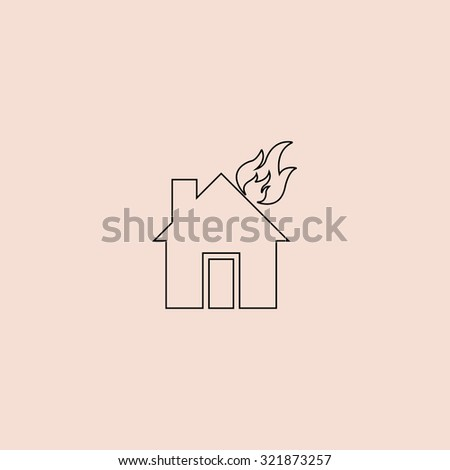 House On Fire Outline Icon Simple Flat Pictogram Pink Background
