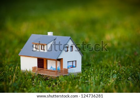 house on green - stock photo