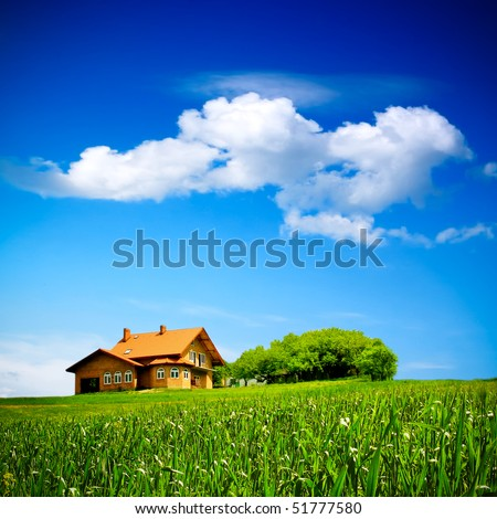 House on green field - stock photo