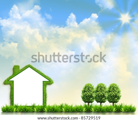 House on green field against the background of the sky - stock photo