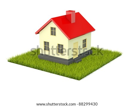 House on green grass isolated on white