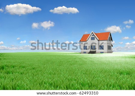 House on green meadow - stock photo