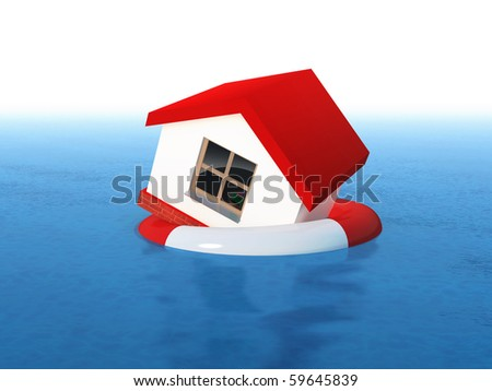 house on life buoy - stock photo
