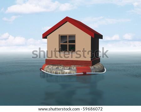house on life buoy - stock photo
