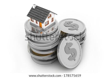 house on money stack - stock photo