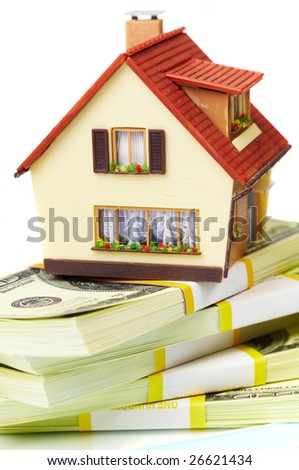 house on packs of banknotes...