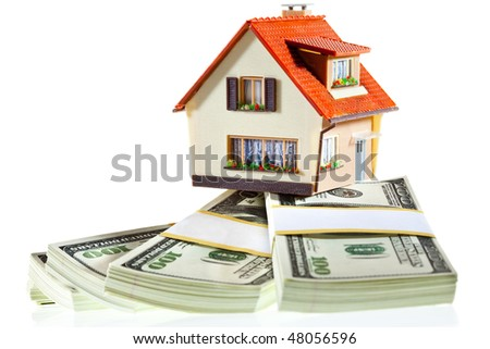 house on packs  on the white - stock photo