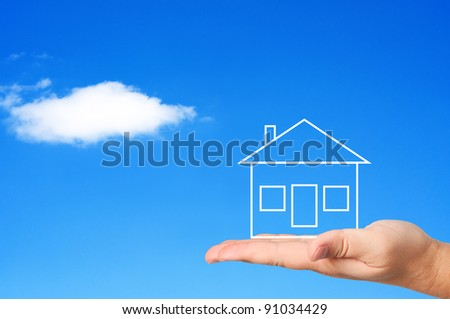 House on palm concept housing. - stock photo