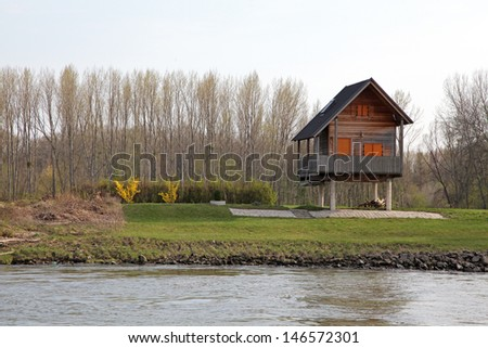 House on pylons near river Danube, Austria