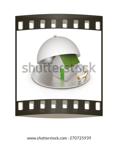 house on restaurant cloche isolated on white background. The film strip - stock photo