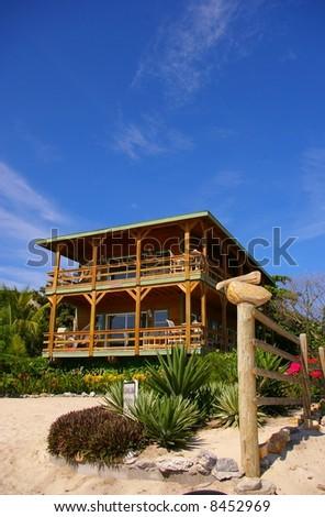 house on the beach - stock photo