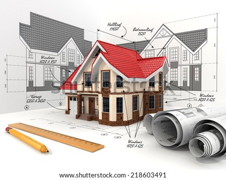 House on the drafts in different projections and blueprints. Construction concept. - stock photo