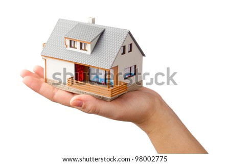 house on the hand, isolated on white - stock photo