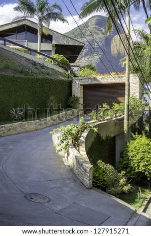 House on the hill in Rio De Janeiro - stock photo