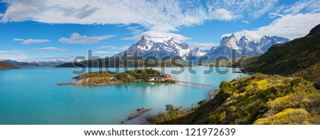 House on the island in the national park Torres del Paine, lake Pehoe, Patagonia, Chile - stock photo