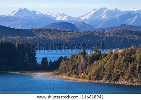 House on the lake Perito Moreno, Bariloche, Argentina - stock photo
