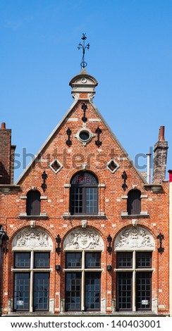 House on the market square in Bruges - stock photo